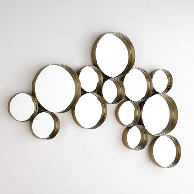 Design KNB Cluster of Golden Metal Round Mirrors