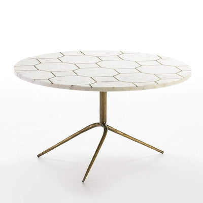 Design KNB coffee table Round White Marble Coffee Table