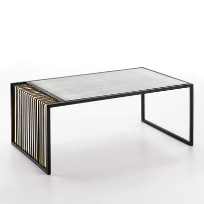 Design KNB Coffee Table with in aged Mirror Top in Black and Gold Metal