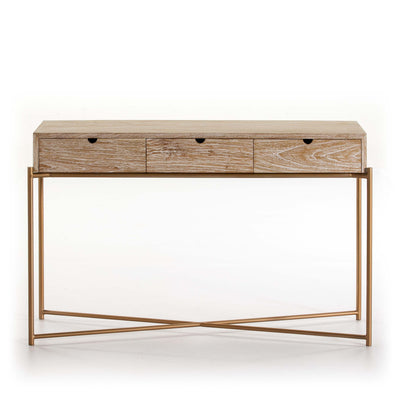 Design KNB Console Table in White Washed Wood with Golden Metal Legs and 3 Drawers
