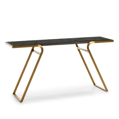 Design KNB Console Table with a Dark Wood Top and Golden Metal Legs