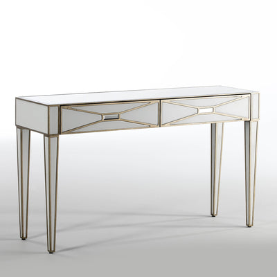 Design KNB Console Table with a White Glass Mirror effect and Golden MDF detail