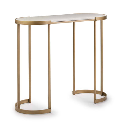 Design KNB Console Table with a White Marble Top and a Golden Metal Base