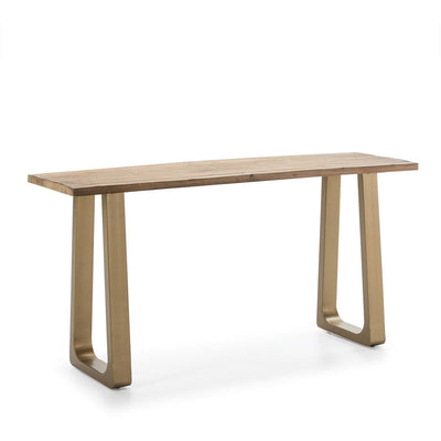 Design KNB Console Table with Natural Wood and Golden Metal legs