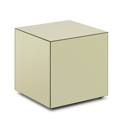 Design KNB Cube Shaped Champagne Toned Mirror Side Table
