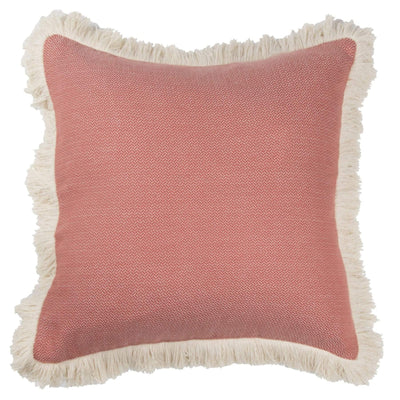 Cotton Cushion in terracotta and ecru fringing