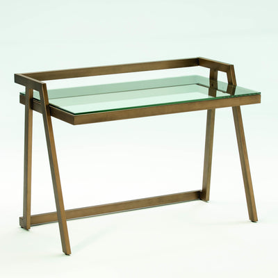 Design KNB Desk in Bronze Metal with a Glass Top