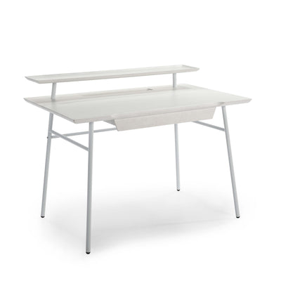 Design KNB Desk in White Wood with White Metal Legs