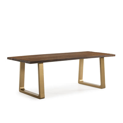 Design KNB Dining Room table in Dark Brown Wood with Golden Metal Legs