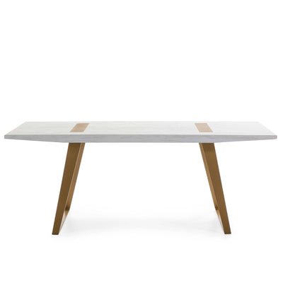 Design KNB Dining Table in White Washed Wood and and Golden Metal Legs