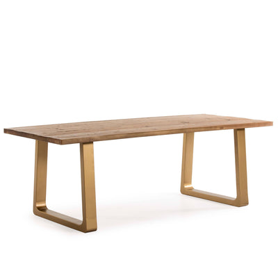 Design KNB Dining Table made of Old Fir Wood and Golden Metal Legs