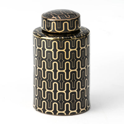 Design KNB Earthenware Ceramic Jar in Black/Gold