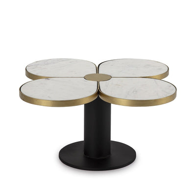 Design KNB Flower Shaped Coffee Table in White Marble and Black and Golden Metal