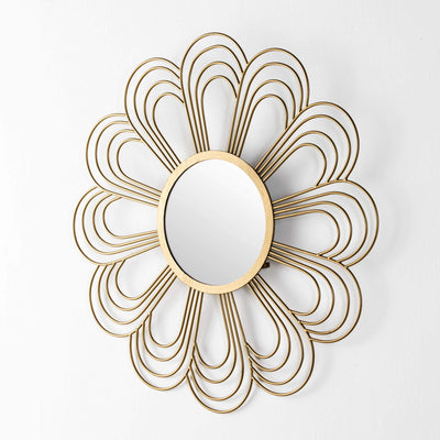 Design KNB Flower Shaped Glass Mirror Glass with Golden Metal Frame