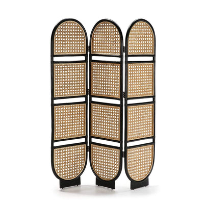 Design KNB Folding Screen in Natural and Black Wicker