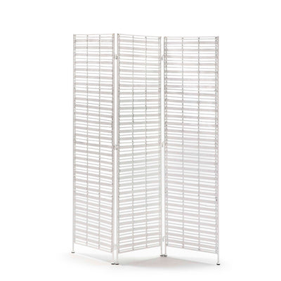 Design KNB Folding Screen in White Wicker/White Metal