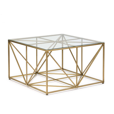 Design KNB Gold and Glass Square Coffee Table