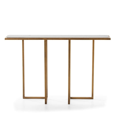 Design KNB Golden Metal Console Table with a White Marble Top