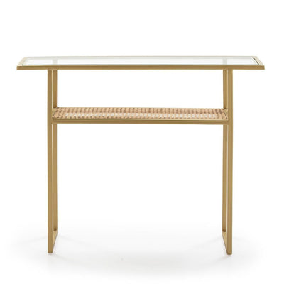 Design KNB Golden Metal Console table with Glass and Rattan