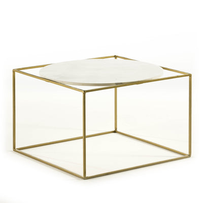 Design KNB Golden Metal Side Table with a White Marble Plate and a Golden Metal Base