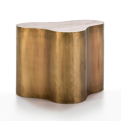 Design KNB Golden Metal Side Table with a White Marble top