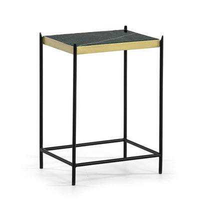 Design KNB Green Marble Side Table with a Black Metal Frame