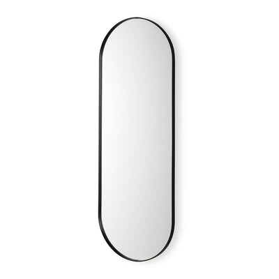 Design KNB Long Mirror with round edges in Black Metal