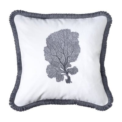 Design KNB Luxurious Cushion Coral No1 Grey and White with Fringing