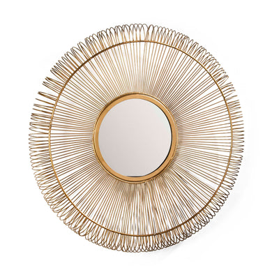 Design KNB mirror Round Glass Mirror in Golden Metal