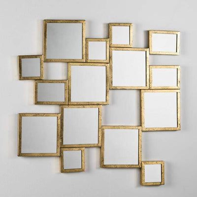 Design KNB mirror Wide Mirror with Golden Metal Frames