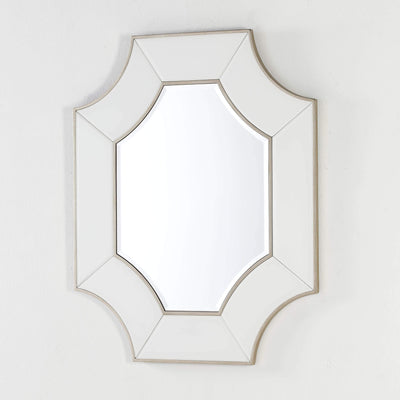 Design KNB Mirror with a Transparent White Glass Frame