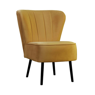 Design KNB Mustard Noa Velvet Arm chair