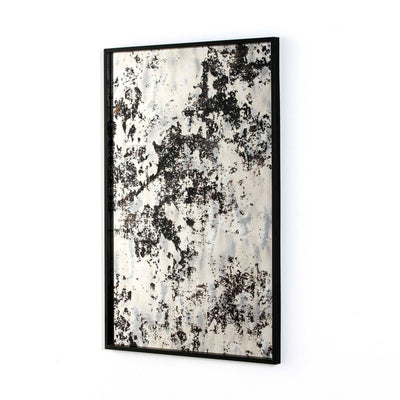 Design KNB Rectangular Mirror with Aged Glass in a Black Metal Frame