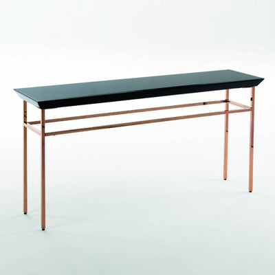 Design KNB Rose Gold Console Table with a Black Glass Top