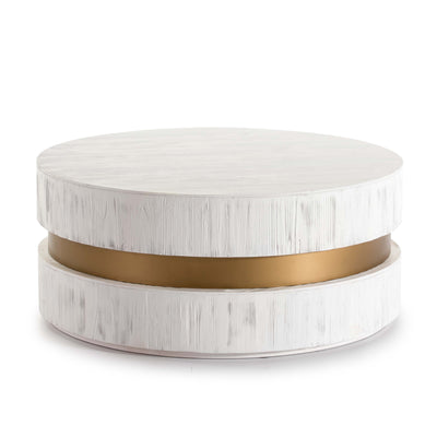 Design KNB Round Art-Deco Coffee Table in White Wood
