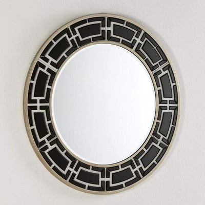 Design KNB Round Black and White Glass Mirror