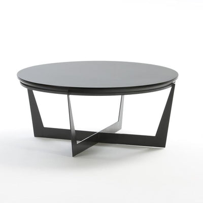 Design KNB Round Coffee Table in Black Metal and MDF