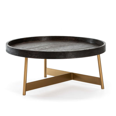 Design KNB Round Coffee Table in Dark Brown Wood