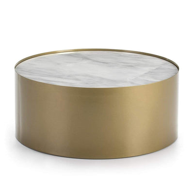 Design KNB Round Coffee Table in Golden Metal with a White Marble top