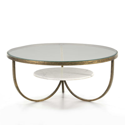 Design KNB Round Coffee table in Marble and Glass