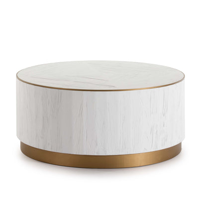 Design KNB Round Coffee Table in White Wood with Golden Metal