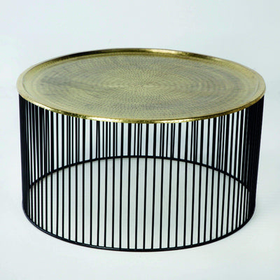 Design KNB Round Coffee Table with a Golden Top and Black Iron Base