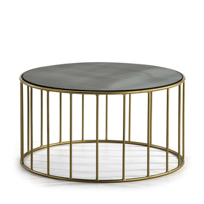 Design KNB Round Coffee table with an Aged Mirror Top and Golden Metal Base