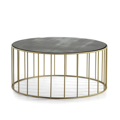 Design KNB Round Coffee table with an Aged Mirror Top and Golden Metal Base in 100cm