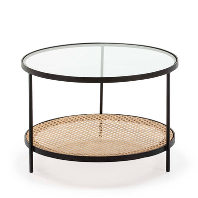 Design KNB Round Coffee Table with Rattan and Glass