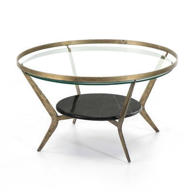 Design KNB Round Coffee Table with Stone and Glass