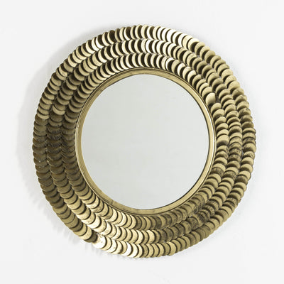 Design KNB Round Design Mirror with Gold Metal Detailed Frame