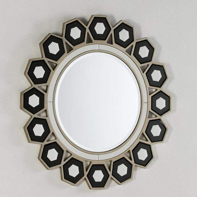 Design KNB Round Glass Mirror in a White and Black Glass Frame
