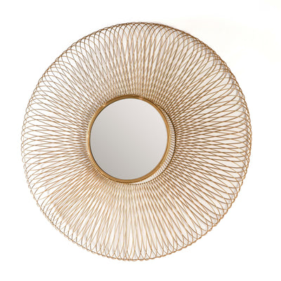 Design KNB Round Glass Mirror with a Golden Metal Frame