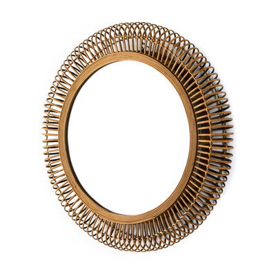 Design KNB Round Glass Mirror with a Natural Wicker Frame
